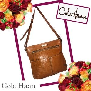 COLE HAAN Exquisite Tan Pebbled Leather Crossbody